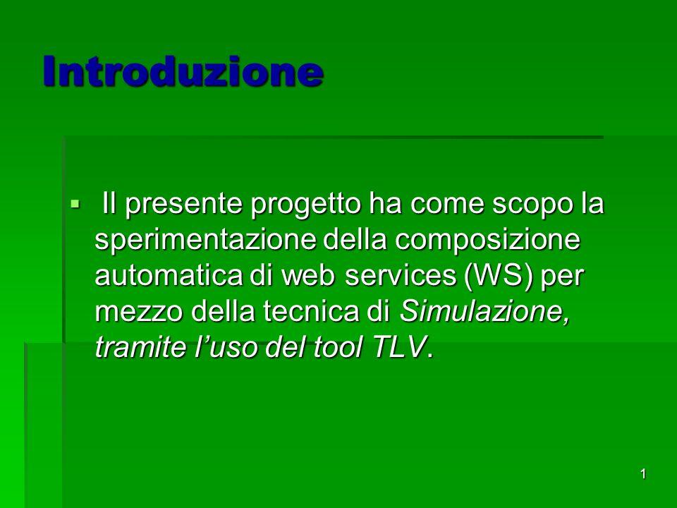1 Introduzione Il presente progetto ha come scopo la sperimentazione della composizione automatica di web services (WS) per mezzo della tecnica di Simulazione, tramite luso del tool TLV.