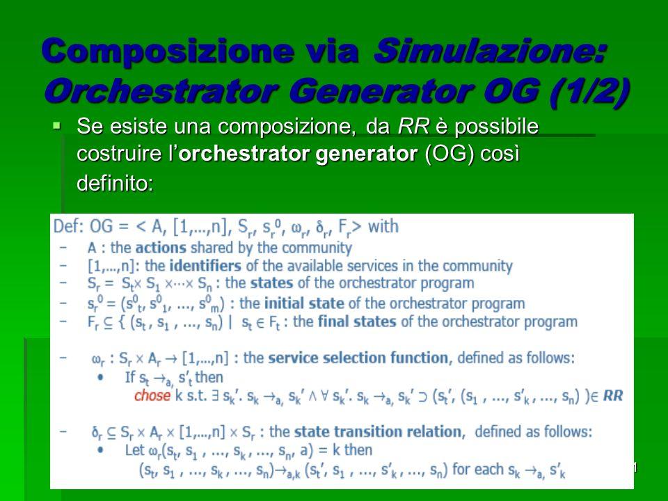 11 Composizione via Simulazione: Orchestrator Generator OG (1/2) Se esiste una composizione, da RR è possibile costruire lorchestrator generator (OG) così definito: Se esiste una composizione, da RR è possibile costruire lorchestrator generator (OG) così definito: