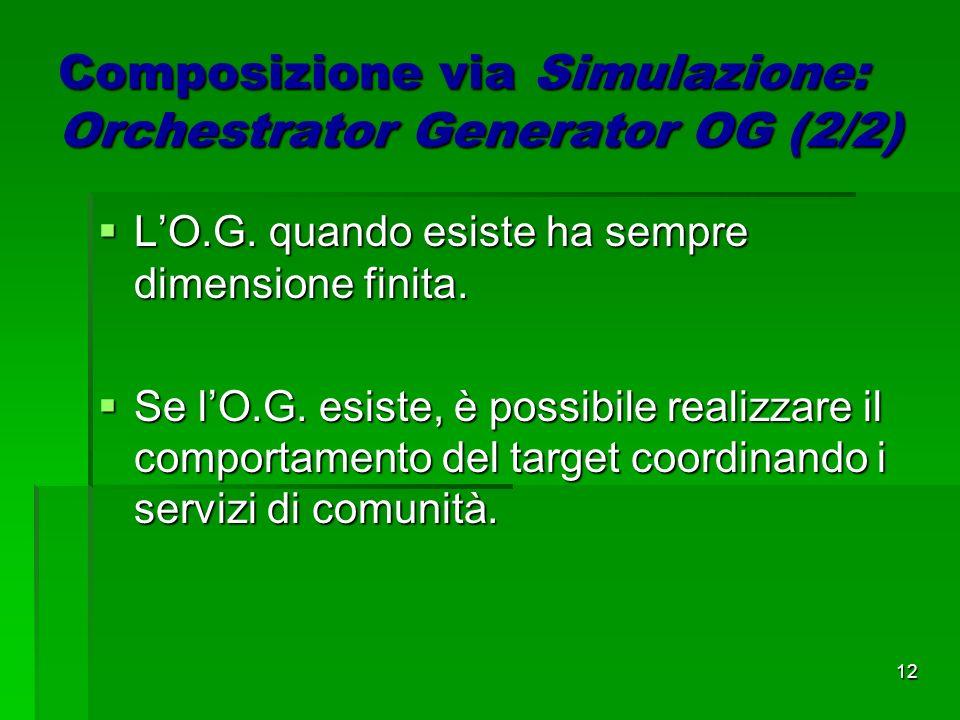 12 Composizione via Simulazione: Orchestrator Generator OG (2/2) LO.G.