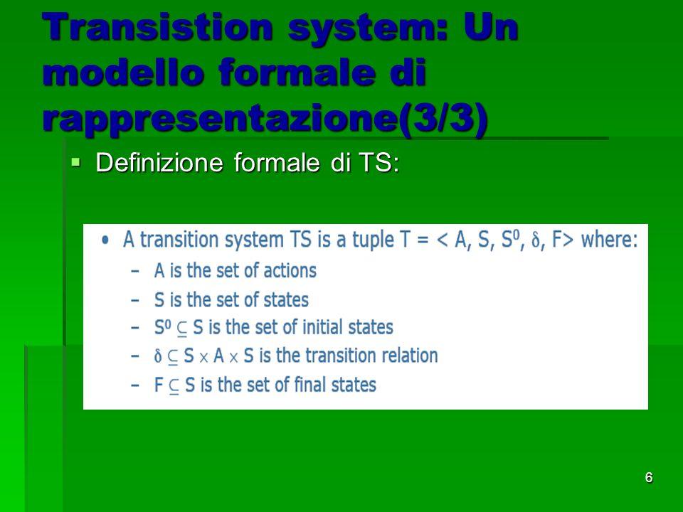 6 Transistion system: Un modello formale di rappresentazione(3/3) Definizione formale di TS: Definizione formale di TS: