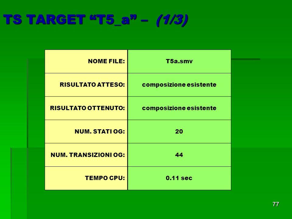 77 TS TARGET T5_a – (1/3) NOME FILE: T5a.smv RISULTATO ATTESO:composizione esistente RISULTATO OTTENUTO:composizione esistente NUM.