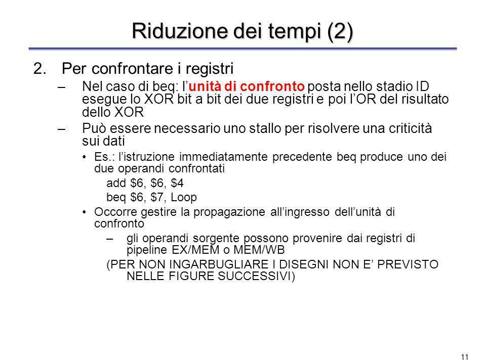 10 Terza soluzione: Riduzione dei tempi Si anticipa la decisione sul salto ad uno stadio precedente a MEM Occorre anticipare tre azioni 1.Calcolare li