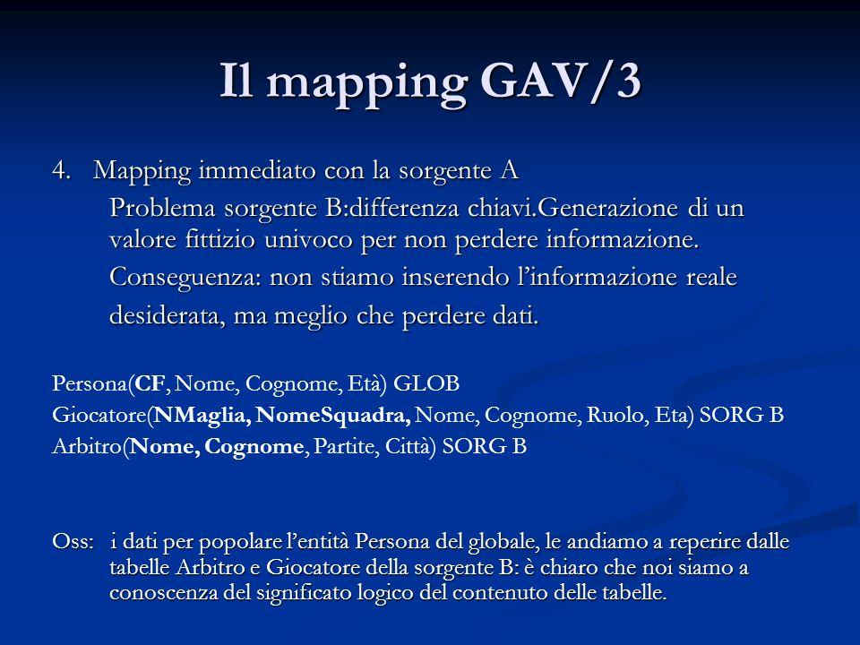 Il mapping GAV/3 4. Mapping immediato con la sorgente A Problema sorgente B:differenza chiavi.Generazione di un valore fittizio univoco per non perder