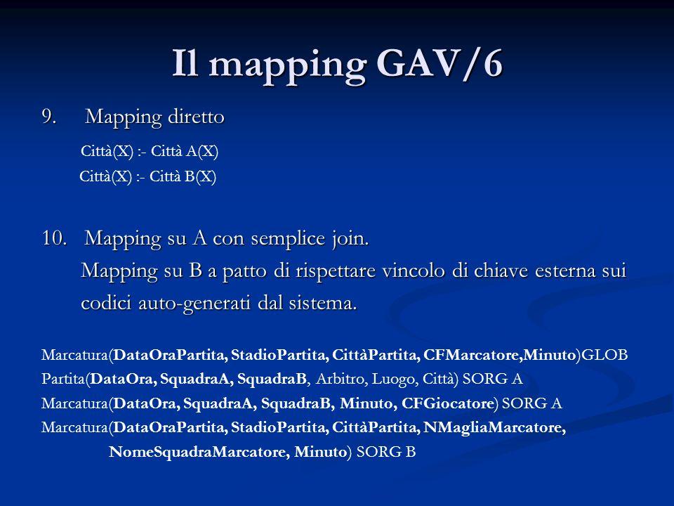 Il mapping GAV/6 9. Mapping diretto Città(X) :- Città A(X) Città(X) :- Città B(X) 10. Mapping su A con semplice join. Mapping su B a patto di rispetta