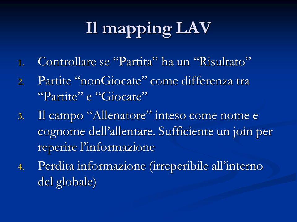 Il mapping LAV 1. Controllare se Partita ha un Risultato 2. Partite nonGiocate come differenza tra Partite e Giocate 3. Il campo Allenatore inteso com