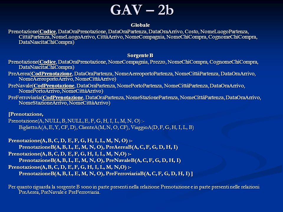 GAV – 2b [Prenotazione, Prenotazione(A, NULL, B, NULL, E, F, G, H, I, L, M, N, O) :- BigliettoA(A, E, Y, CF, D), ClienteA(M, N, O, CF), ViaggioA(D, F,