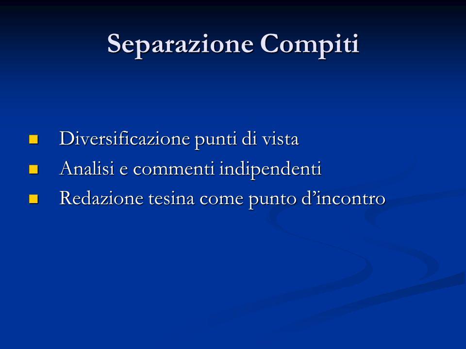 Separazione Compiti Diversificazione punti di vista Diversificazione punti di vista Analisi e commenti indipendenti Analisi e commenti indipendenti Re