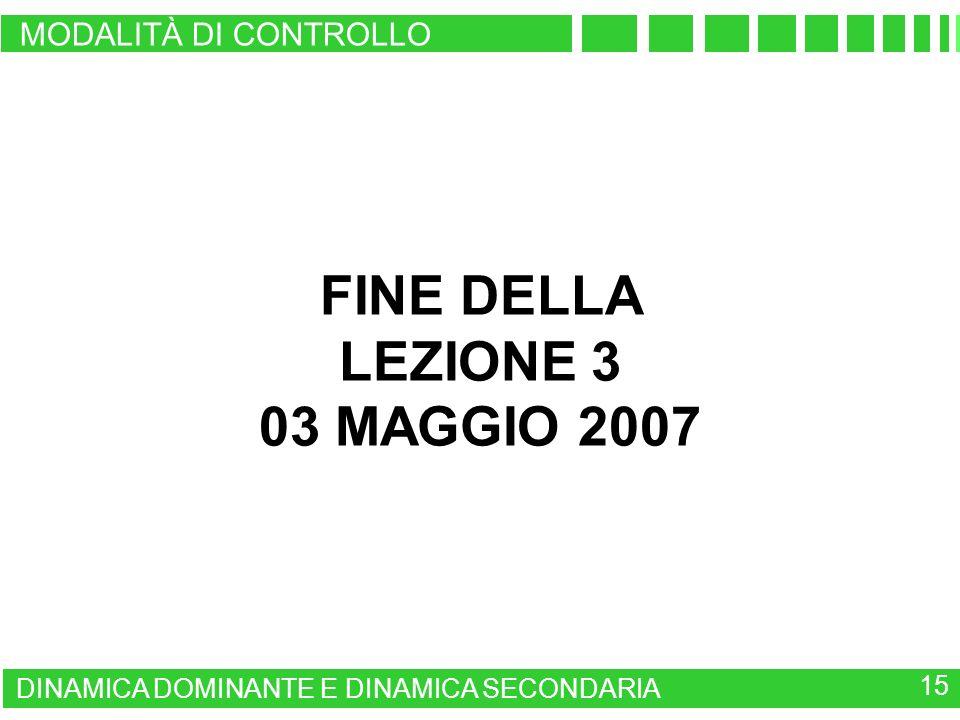15 DINAMICA DOMINANTE E DINAMICA SECONDARIA MODALITÀ DI CONTROLLO FINE DELLA LEZIONE 3 03 MAGGIO 2007