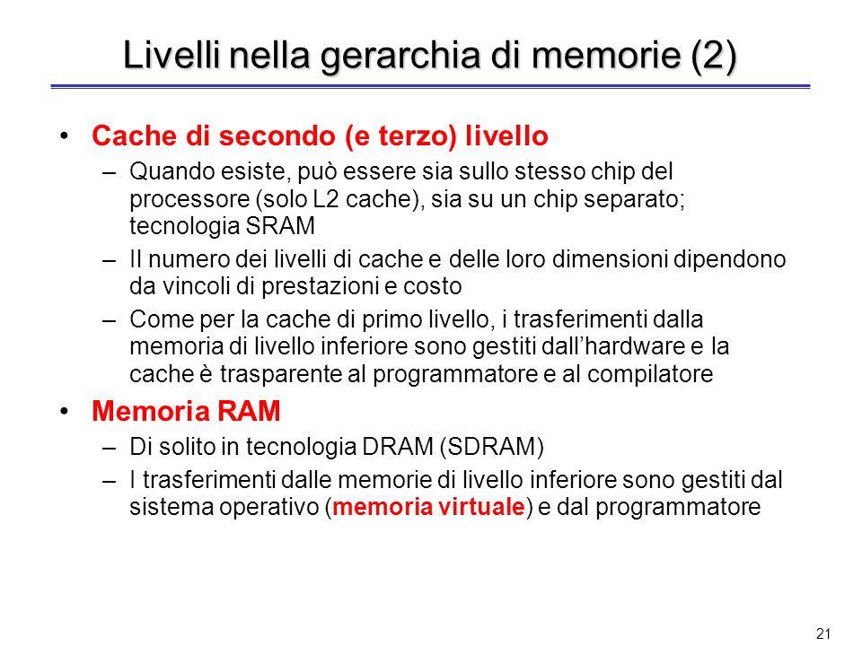 20 Livelli nella gerarchia di memorie Basandosi sul principio di località, la memoria di un calcolatore è realizzata come una gerarchia di memorie Reg