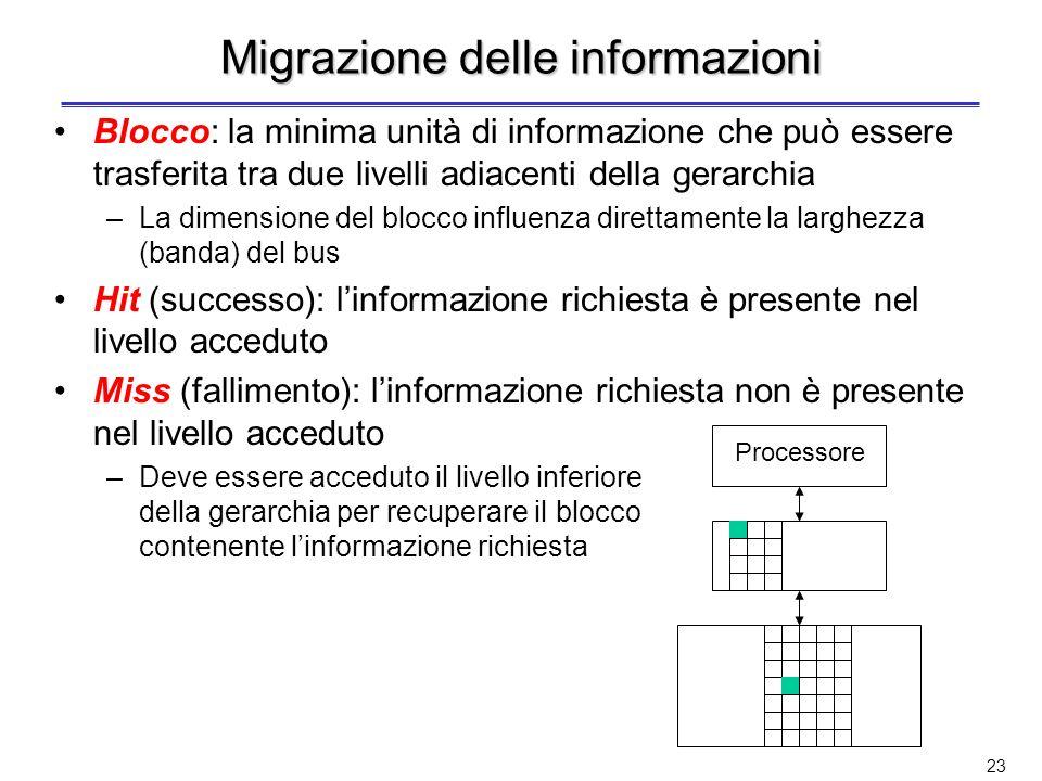 22 Livelli nella gerarchia di memorie (3) Livelli di memoria inclusivi –Un livello superiore della gerarchia (più vicino al processore) contiene un so