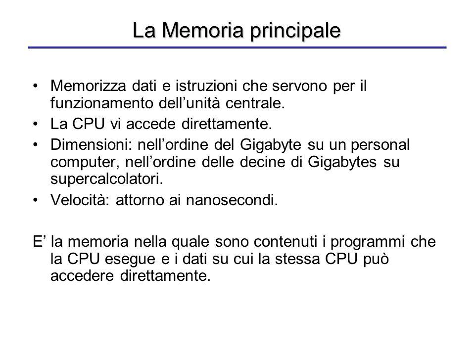 La memoria interna Registri interni alla CPU –Visibili o no al programmatore –Memorizzano temporaneamente dati e istruzioni –Dimensioni: decine di byt