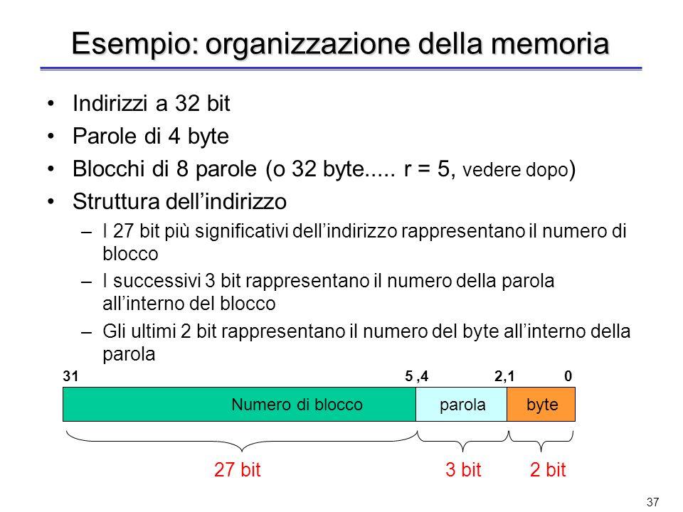 36 Cache ad indirizzamento diretto (2) Esempio di cache ad indirizzamento diretto con 8 blocchi I blocchi di memoria con indirizzo 00001, 01001, 10001