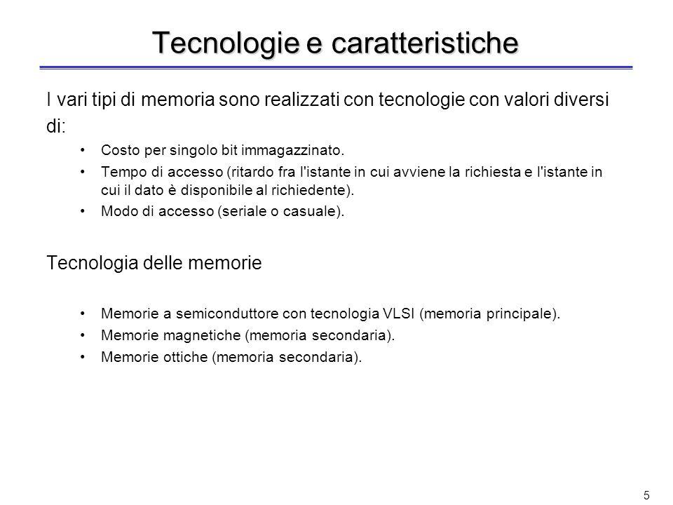 Tecnologie e caratteristiche I vari tipi di memoria sono realizzati con tecnologie con valori diversi di: Costo per singolo bit immagazzinato.