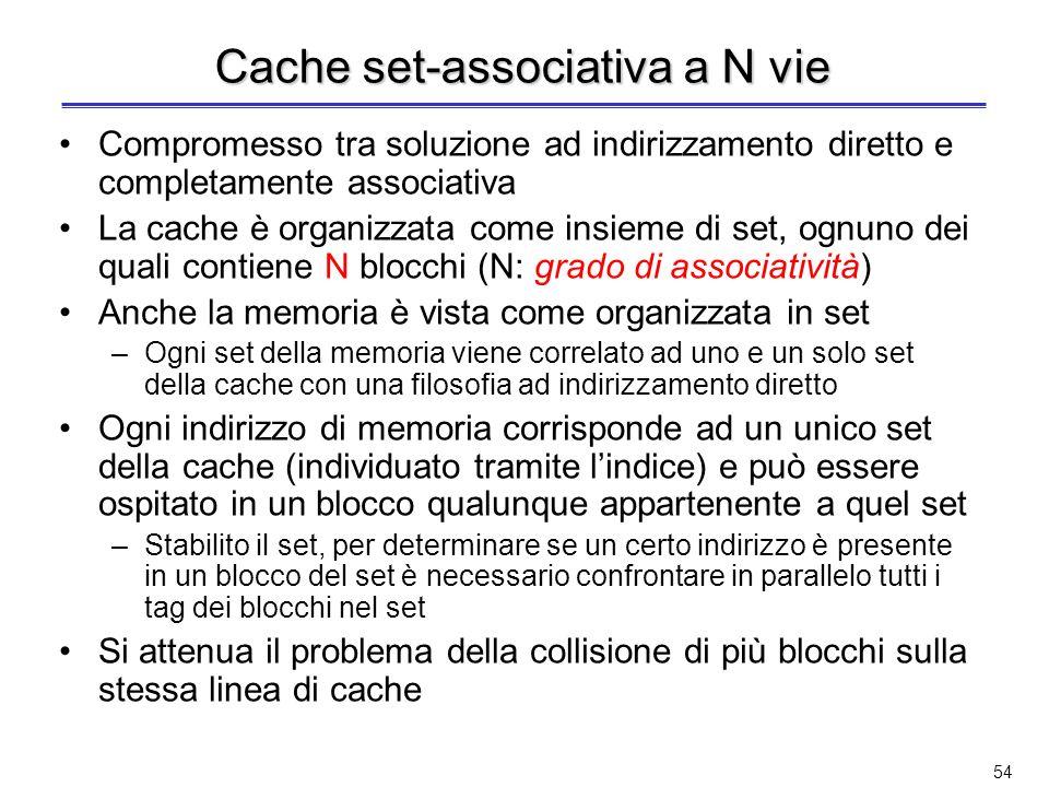 Esempio cache completamente associativa Address 30 3030 VTagData 3230 4-to-1 multiplexor HitData 1238910111230310