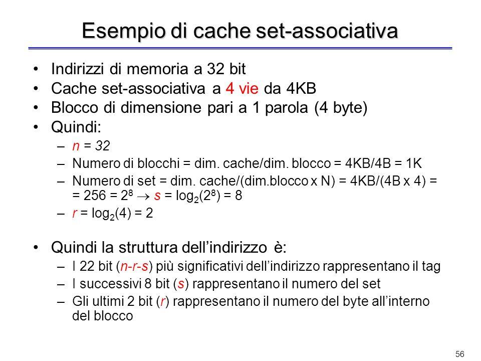 55 Lindirizzo di memoria ha la stessa struttura dellindirizzo per la cache ad indirizzamento diretto –Lindice identifica il set A parità di dimensioni