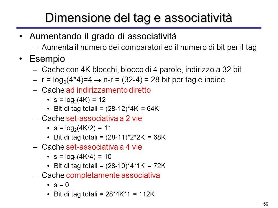 58 Confronto tra organizzazioni Una cache da 8 blocchi organizzata come –Ad indirizzamento diretto –Set-associativa a 2 vie –Set-associativa a 4 vie –