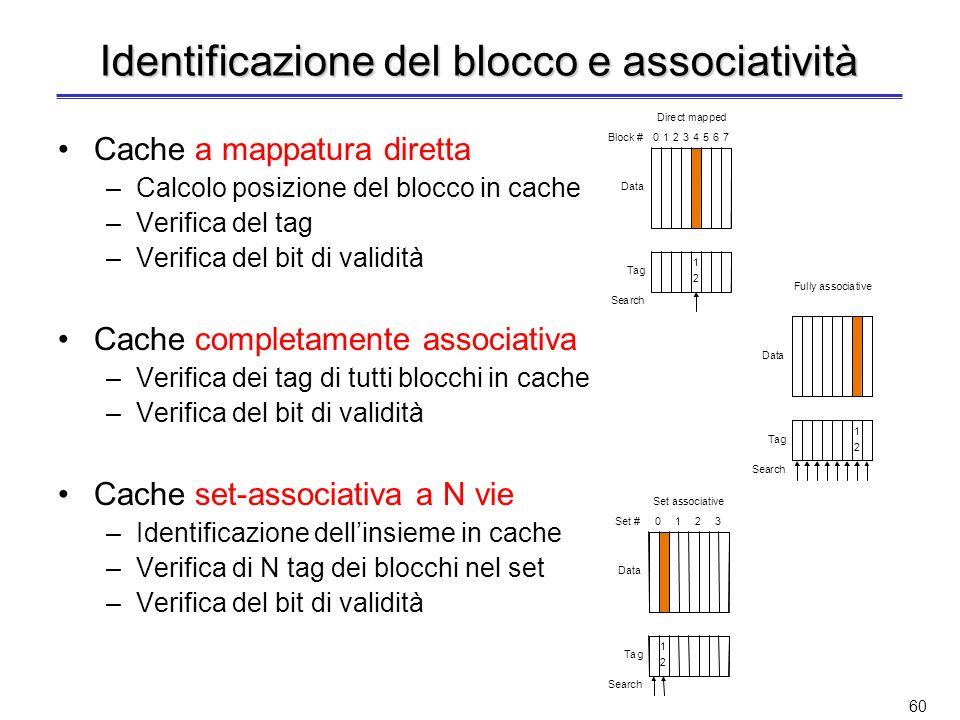 59 Dimensione del tag e associatività Aumentando il grado di associatività –Aumenta il numero dei comparatori ed il numero di bit per il tag Esempio –