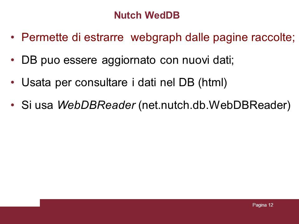 Pagina 12 Nutch WedDB Permette di estrarre webgraph dalle pagine raccolte; DB puo essere aggiornato con nuovi dati; Usata per consultare i dati nel DB (html) Si usa WebDBReader (net.nutch.db.WebDBReader)