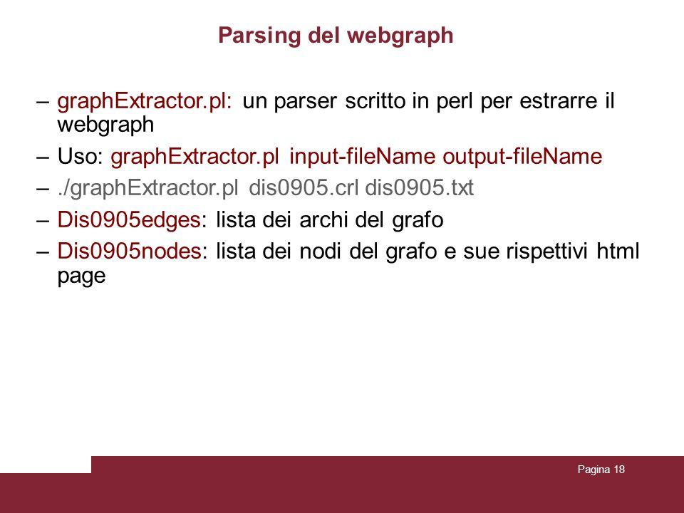 Pagina 18 Parsing del webgraph –graphExtractor.pl: un parser scritto in perl per estrarre il webgraph –Uso: graphExtractor.pl input-fileName output-fileName –./graphExtractor.pl dis0905.crl dis0905.txt –Dis0905edges: lista dei archi del grafo –Dis0905nodes: lista dei nodi del grafo e sue rispettivi html page
