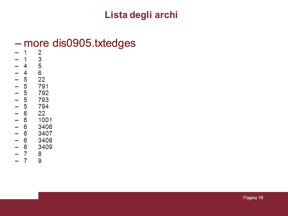 Pagina 19 Lista degli archi –more dis0905.txtedges –1 2 –13 –4 5 –4 6 –5 22 –5 791 –5 792 –5 793 –5 794 –6 22 –6 1001 –6 3406 –6 3407 –6 3408 –6 3409