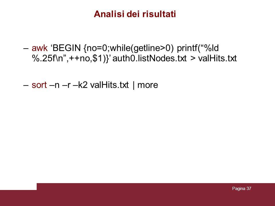 Pagina 37 Analisi dei risultati –awk BEGIN {no=0;while(getline>0) printf(%ld %.25f\n,++no,$1)} auth0.listNodes.txt > valHits.txt –sort –n –r –k2 valHits.txt | more