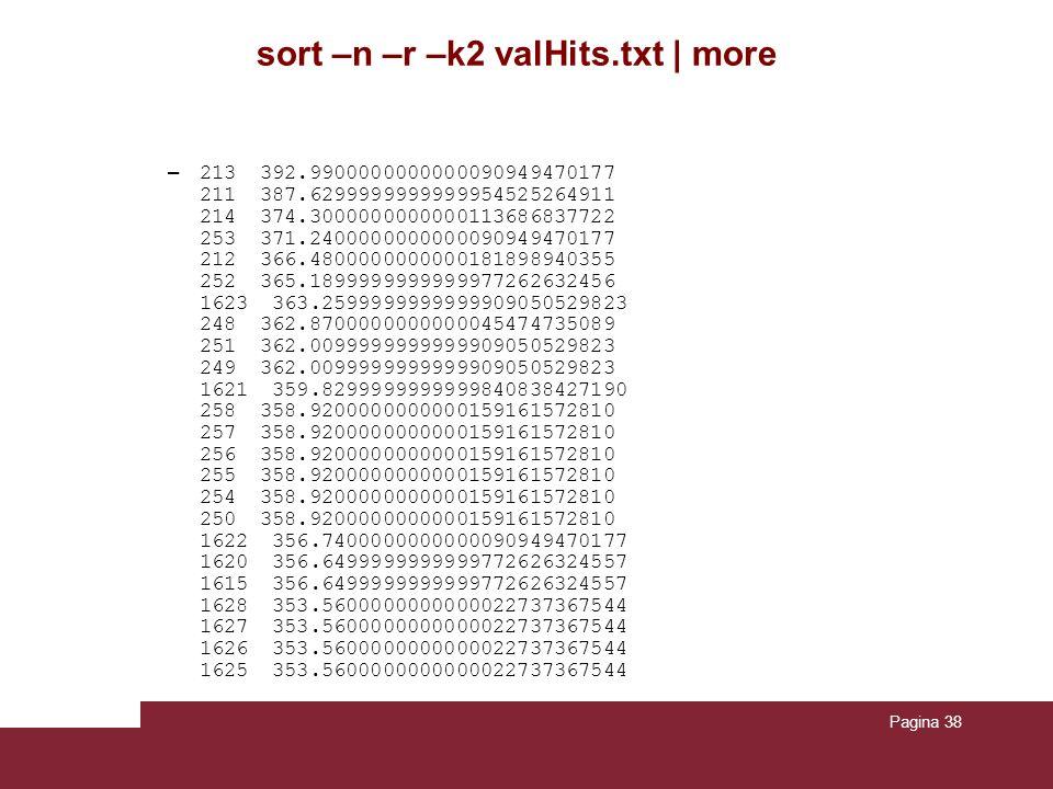 Pagina 38 sort –n –r –k2 valHits.txt | more – 213 392.9900000000000090949470177 211 387.6299999999999954525264911 214 374.3000000000000113686837722 25