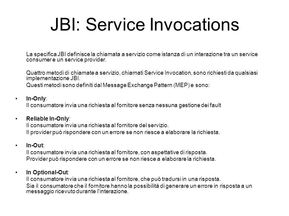 JBI: Service Invocations La specifica JBI definisce la chiamata a servizio come istanza di un interazione tra un service consumer e un service provide