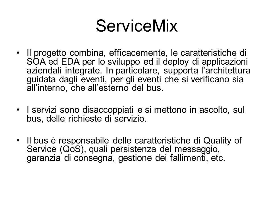 ServiceMix Il progetto combina, efficacemente, le caratteristiche di SOA ed EDA per lo sviluppo ed il deploy di applicazioni aziendali integrate. In p