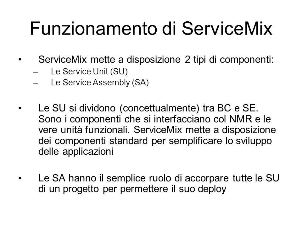 Funzionamento di ServiceMix ServiceMix mette a disposizione 2 tipi di componenti: –Le Service Unit (SU) –Le Service Assembly (SA) Le SU si dividono (c