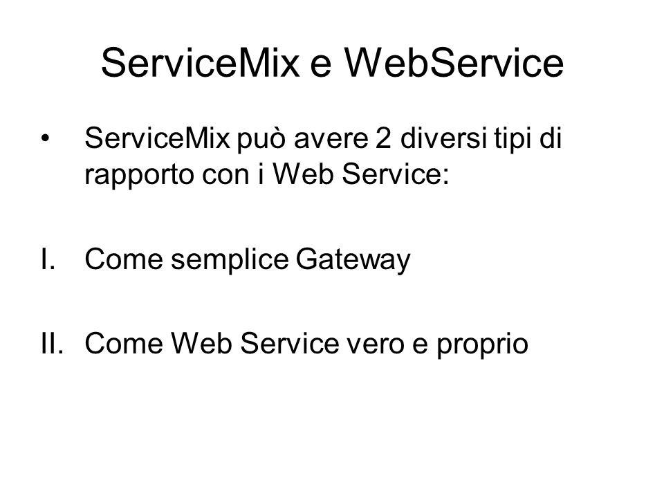 ServiceMix e WebService ServiceMix può avere 2 diversi tipi di rapporto con i Web Service: I.Come semplice Gateway II.Come Web Service vero e proprio