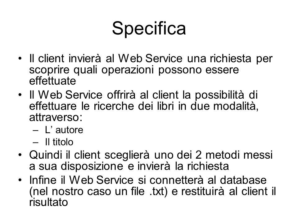 Specifica Il client invierà al Web Service una richiesta per scoprire quali operazioni possono essere effettuate Il Web Service offrirà al client la p