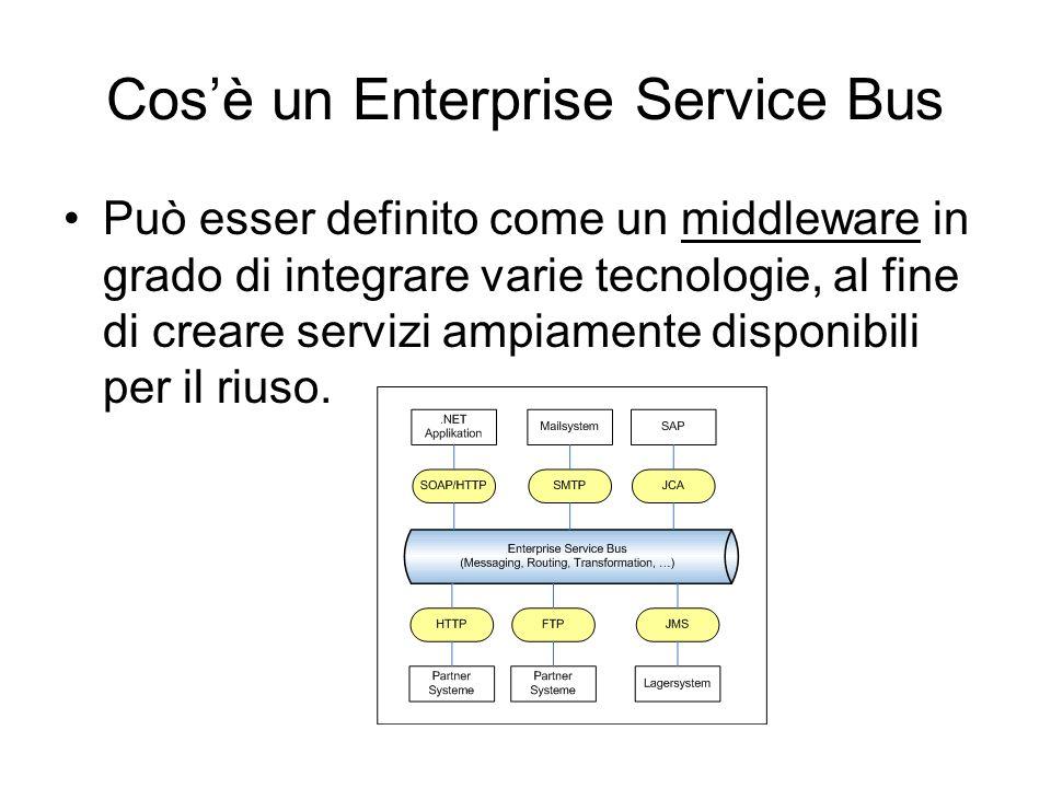 Cosè un Enterprise Service Bus Può esser definito come un middleware in grado di integrare varie tecnologie, al fine di creare servizi ampiamente disp