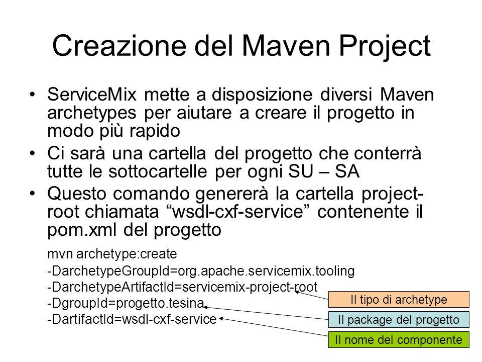 Creazione del Maven Project ServiceMix mette a disposizione diversi Maven archetypes per aiutare a creare il progetto in modo più rapido Ci sarà una c