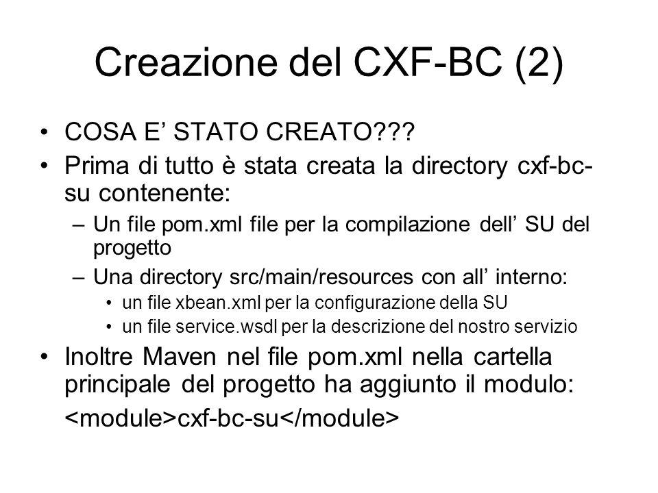 Creazione del CXF-BC (2) COSA E STATO CREATO??? Prima di tutto è stata creata la directory cxf-bc- su contenente: –Un file pom.xml file per la compila