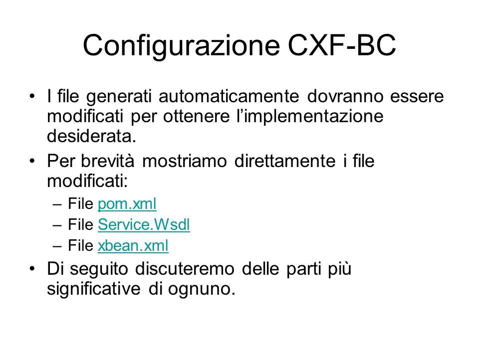 Configurazione CXF-BC I file generati automaticamente dovranno essere modificati per ottenere limplementazione desiderata. Per brevità mostriamo diret