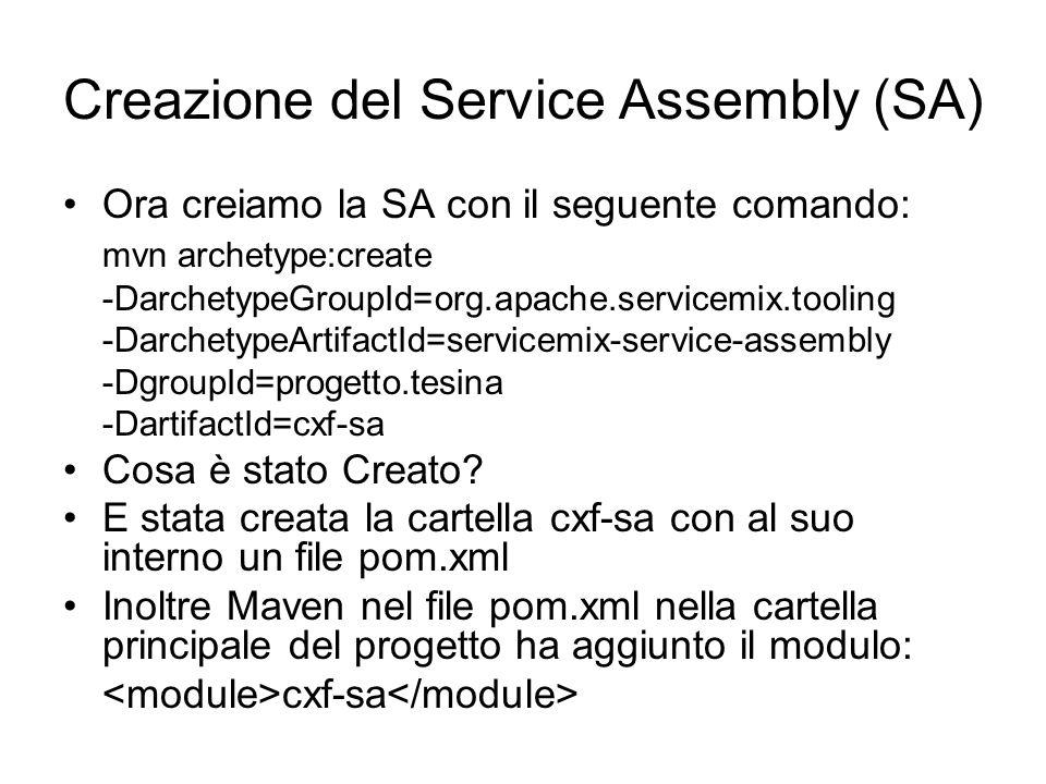 Creazione del Service Assembly (SA) Ora creiamo la SA con il seguente comando: mvn archetype:create -DarchetypeGroupId=org.apache.servicemix.tooling -