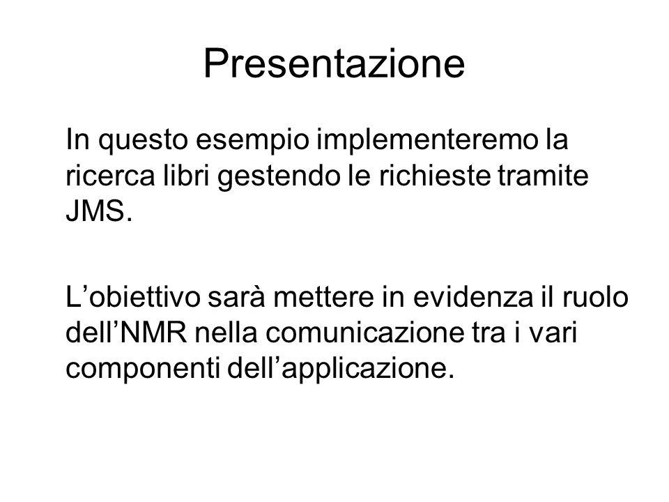 Presentazione In questo esempio implementeremo la ricerca libri gestendo le richieste tramite JMS. Lobiettivo sarà mettere in evidenza il ruolo dellNM