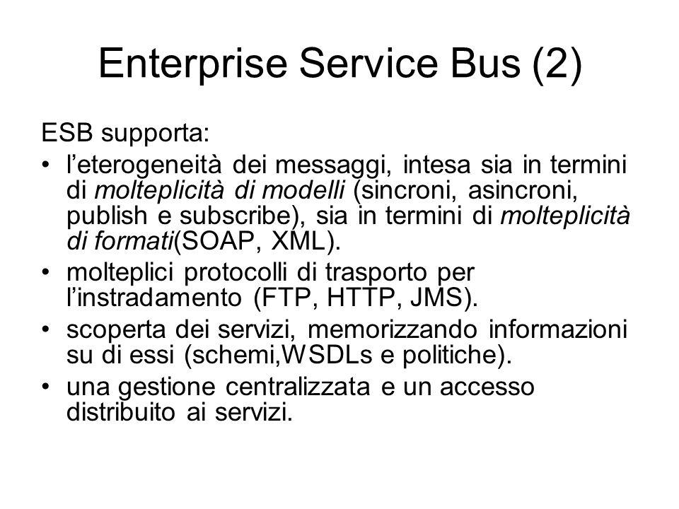 Enterprise Service Bus (2) ESB supporta: leterogeneità dei messaggi, intesa sia in termini di molteplicità di modelli (sincroni, asincroni, publish e