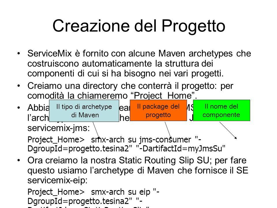Creazione del Progetto ServiceMix è fornito con alcune Maven archetypes che costruiscono automaticamente la struttura dei componenti di cui si ha biso