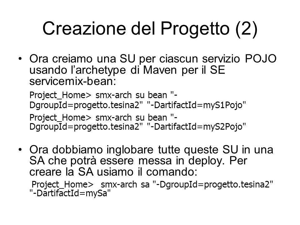 Creazione del Progetto (2) Ora creiamo una SU per ciascun servizio POJO usando larchetype di Maven per il SE servicemix-bean: Project_Home> smx-arch s