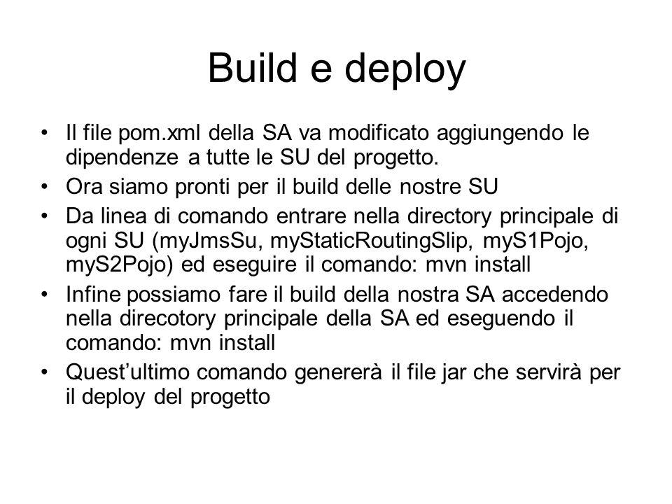 Build e deploy Il file pom.xml della SA va modificato aggiungendo le dipendenze a tutte le SU del progetto. Ora siamo pronti per il build delle nostre