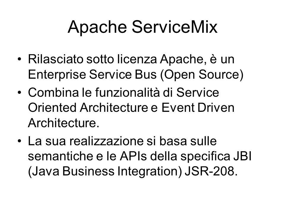 Apache ServiceMix Rilasciato sotto licenza Apache, è un Enterprise Service Bus (Open Source) Combina le funzionalità di Service Oriented Architecture