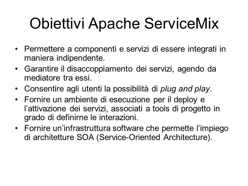 Obiettivi Apache ServiceMix Permettere a componenti e servizi di essere integrati in maniera indipendente. Garantire il disaccoppiamento dei servizi,