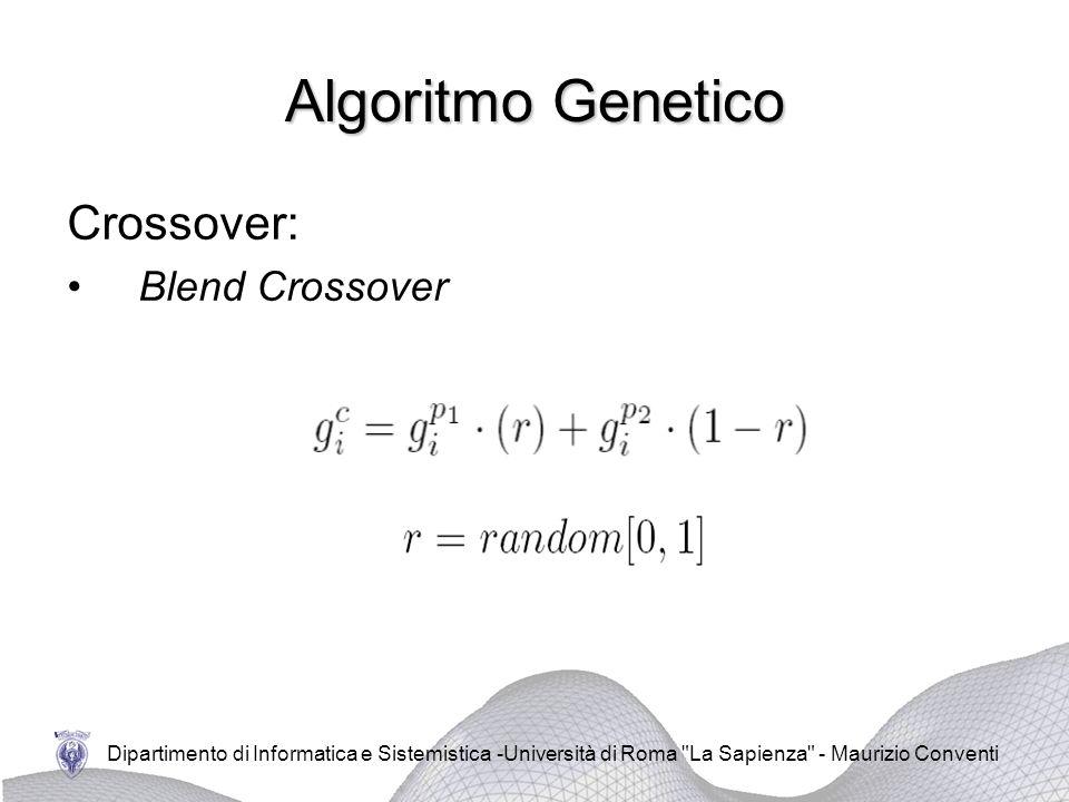 Dipartimento di Informatica e Sistemistica -Università di Roma La Sapienza - Maurizio Conventi Algoritmo Genetico Crossover: Blend Crossover