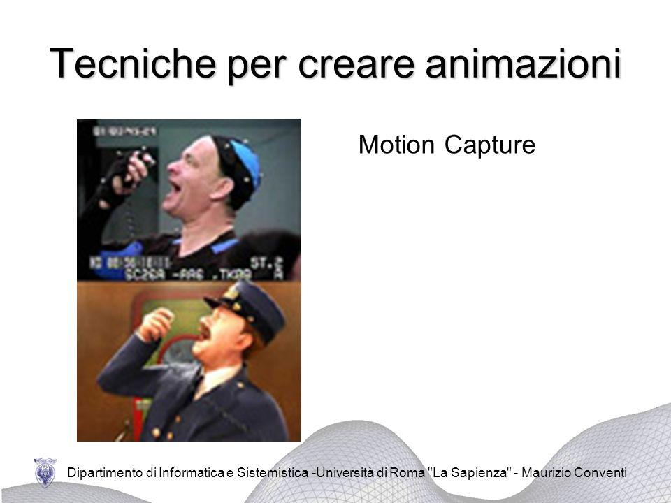 Dipartimento di Informatica e Sistemistica -Università di Roma La Sapienza - Maurizio Conventi Tecniche per creare animazioni Motion Capture