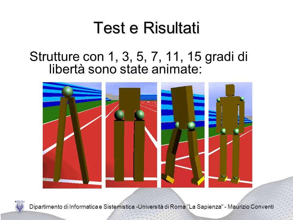 Dipartimento di Informatica e Sistemistica -Università di Roma La Sapienza - Maurizio Conventi Test e Risultati Strutture con 1, 3, 5, 7, 11, 15 gradi di libertà sono state animate:
