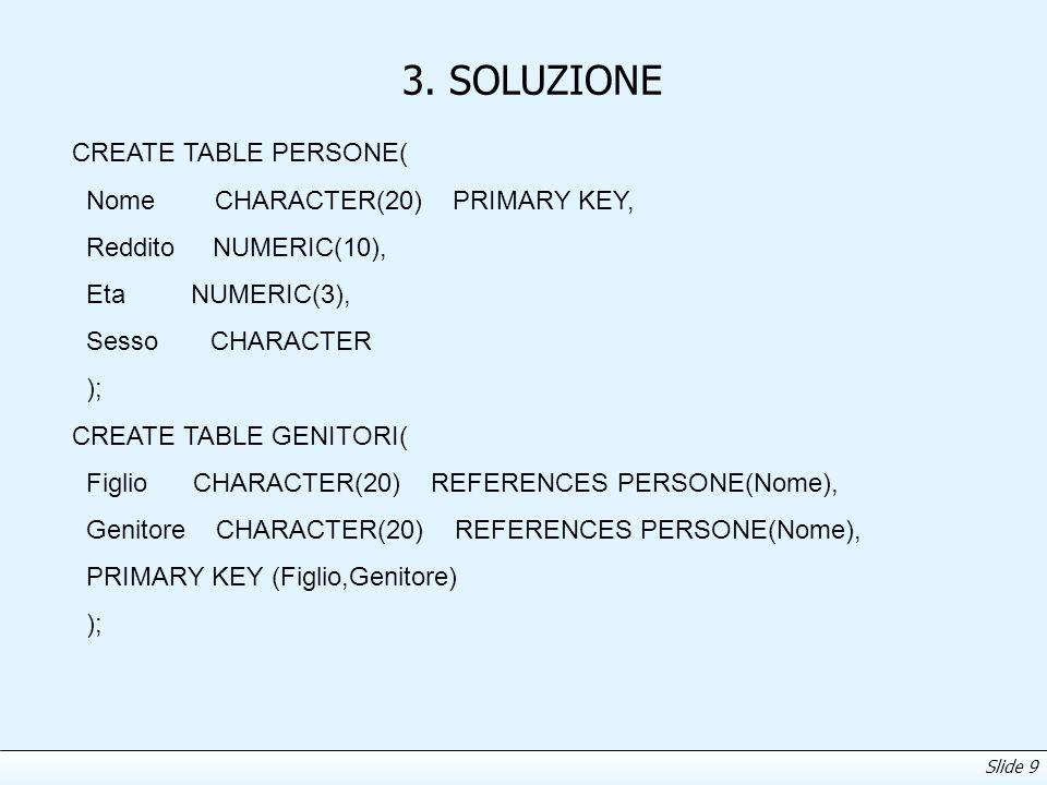 Slide 9 3. SOLUZIONE CREATE TABLE PERSONE( Nome CHARACTER(20) PRIMARY KEY, Reddito NUMERIC(10), Eta NUMERIC(3), Sesso CHARACTER ); CREATE TABLE GENITO