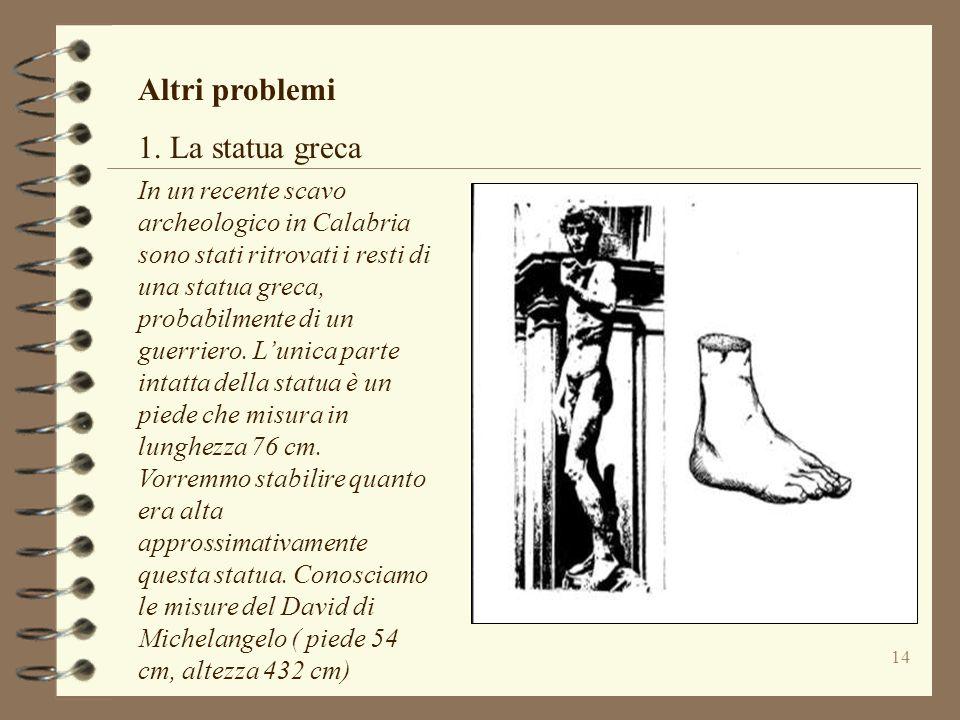 14 Altri problemi 1. La statua greca In un recente scavo archeologico in Calabria sono stati ritrovati i resti di una statua greca, probabilmente di u