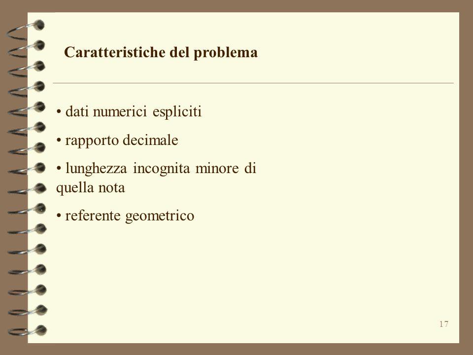 17 Caratteristiche del problema dati numerici espliciti rapporto decimale lunghezza incognita minore di quella nota referente geometrico