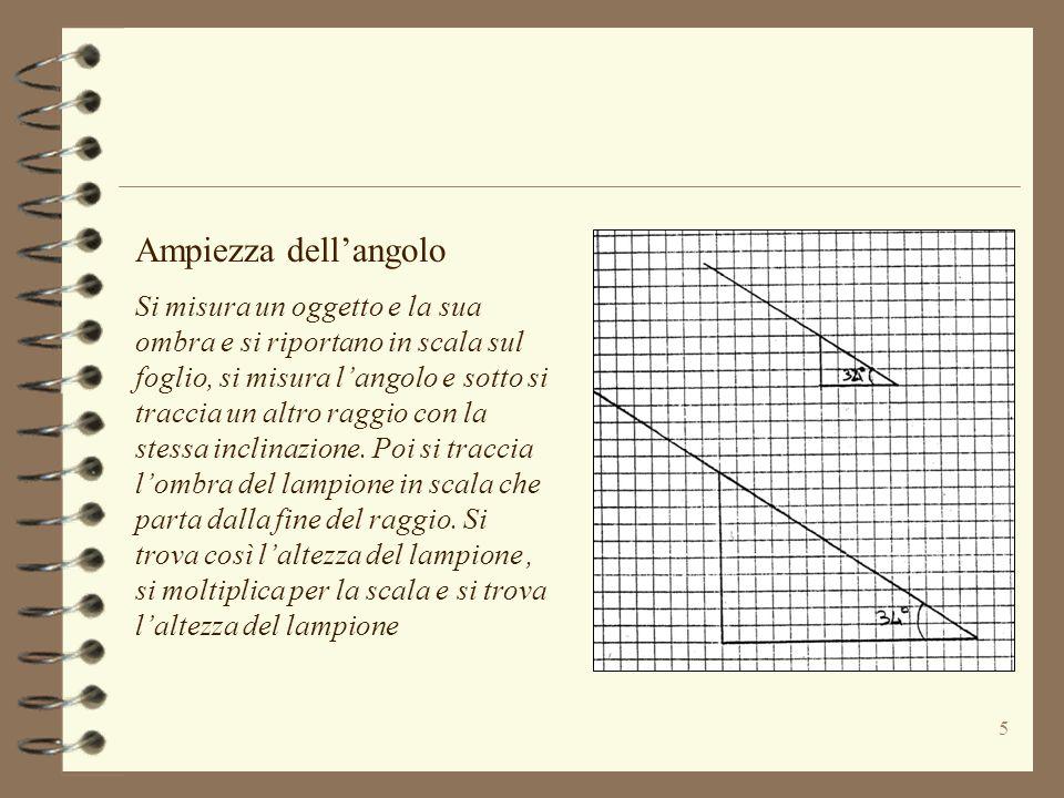 5 Ampiezza dellangolo Si misura un oggetto e la sua ombra e si riportano in scala sul foglio, si misura langolo e sotto si traccia un altro raggio con